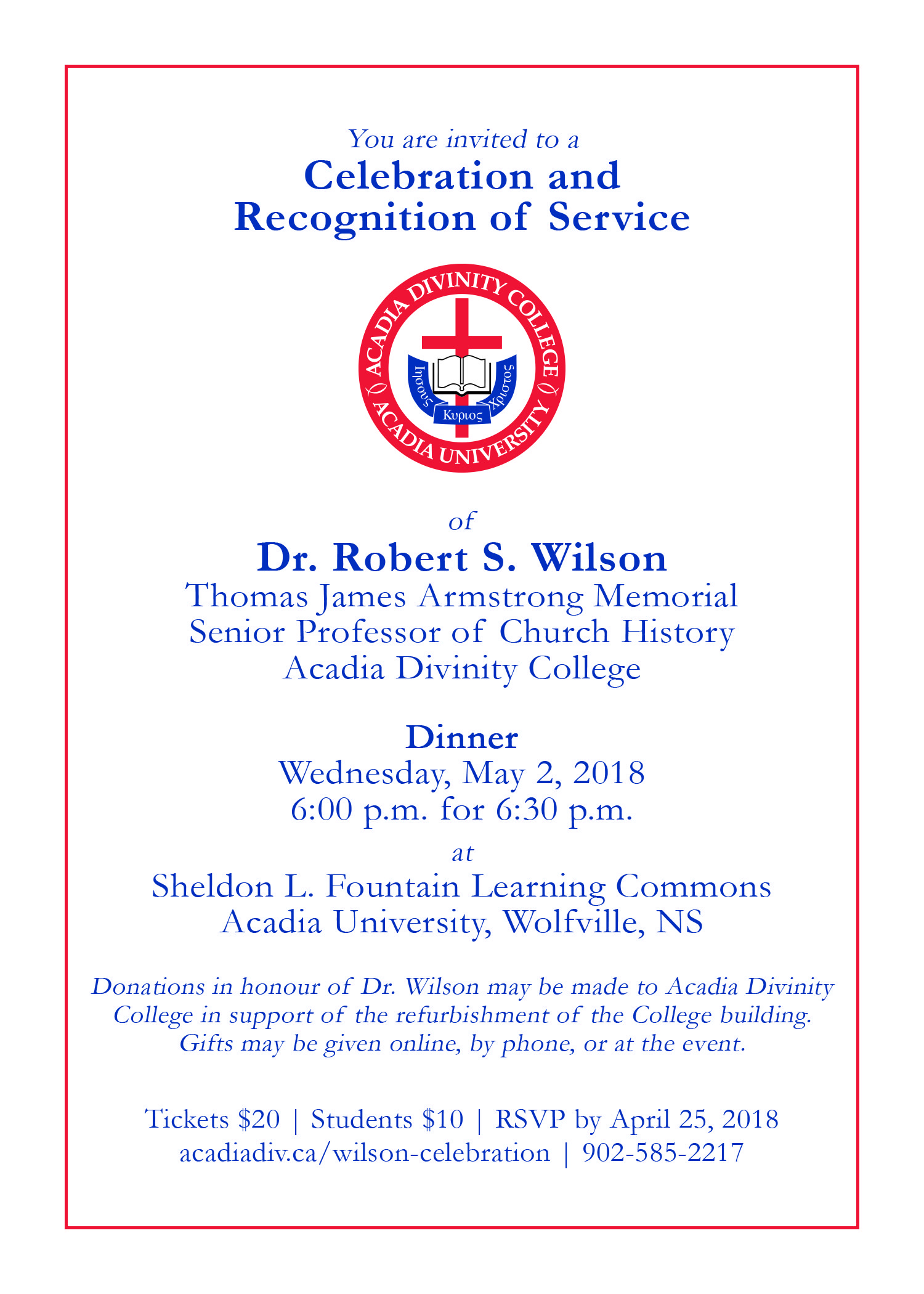 Celebrating Dr. Robert Wilson